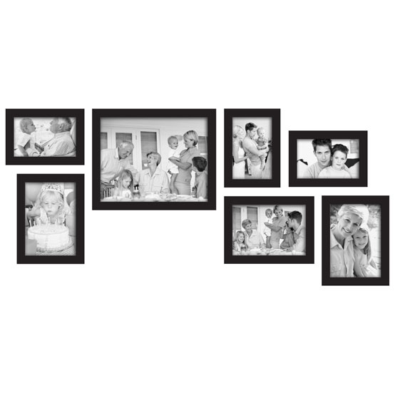 black gallery 7 piece frame setthree 4x6 three 5x7
